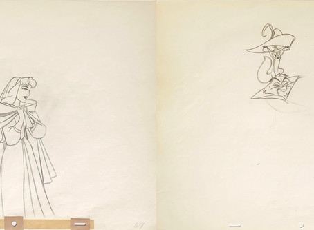 """Original Production Animation Drawings of Briar Rose and Mock Prince from """"Sleeping Beauty,"""" 1959"""