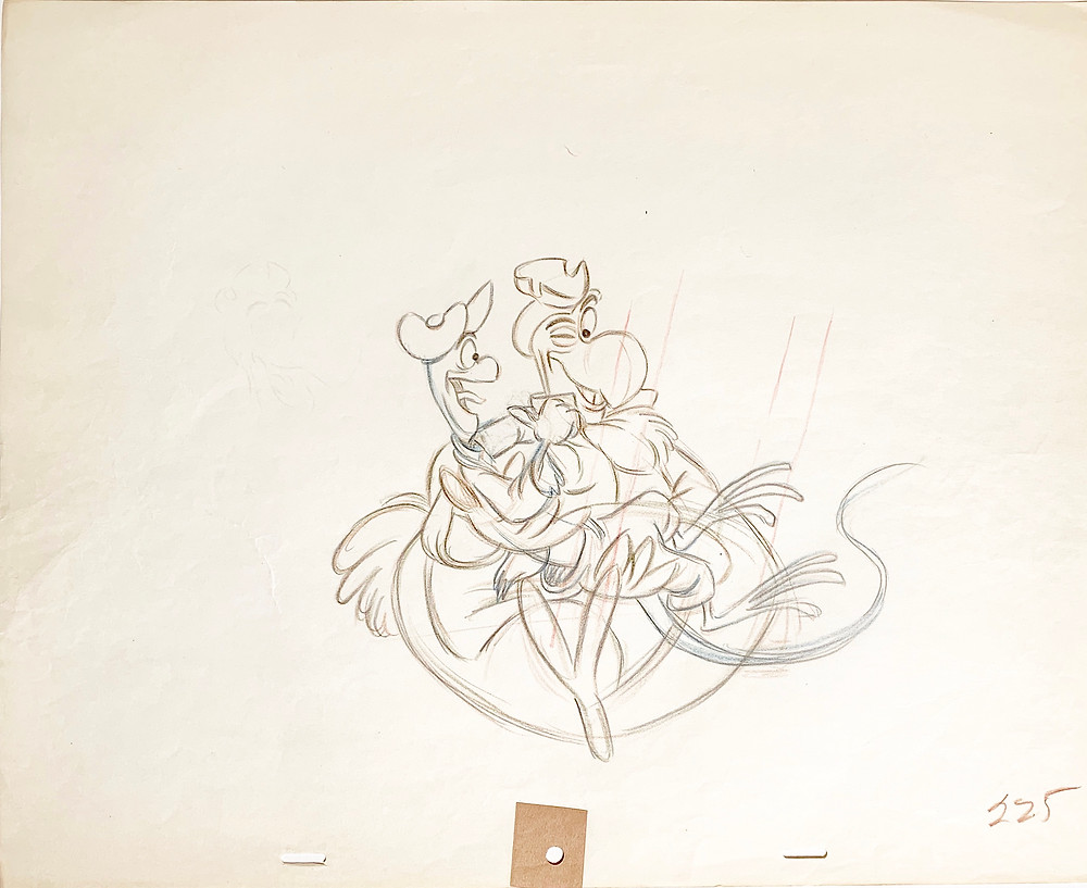 """Original Production Animation Drawing of Dodo and Bill The Lizard from """"Alice In Wonderland,"""" 1951"""