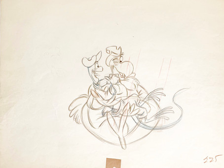 "Original Production Animation Drawing of Dodo and Bill The Lizard from ""Alice In Wonderland,"" 1951"