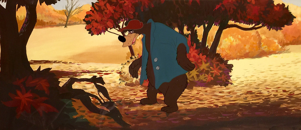 "Original hand painted and hand inked production cel of Br'er Bear from ""Song of the South,"" 1946; Set on a custom hand prepared background; Size - Br'er Bear: 6 1/2 x 5 1/2"", Cel: 10 1/2 x 21 1/4"", Image 9 1/4 x 21 1/2"", Mat 15 1/4 x 27 1/2""; Double Matted."