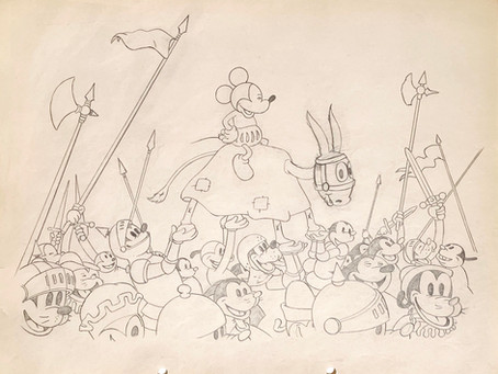 "Original Production Animation Drawing of Mickey Mouse from ""Ye Olden Days,"" 1933"