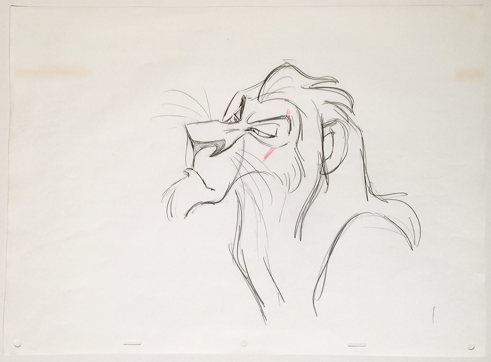 """Original production drawing of Scar in red and graphite pencils from """"The Lion King,"""" 1994; Numbered 1 in graphite pencil lower right; Size - Scar: 9 1/2 x 9 3/4"""", Sheet 12 1/2 x 17""""; Unframed."""