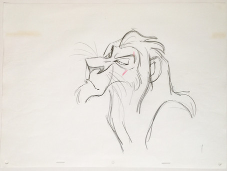 "Original Production Animation Drawing of Scar from ""The Lion King,"" 1994"