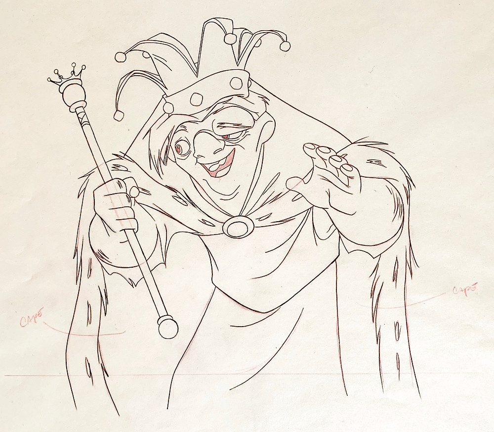 Close up of the original production animation drawing of Quasimodo.
