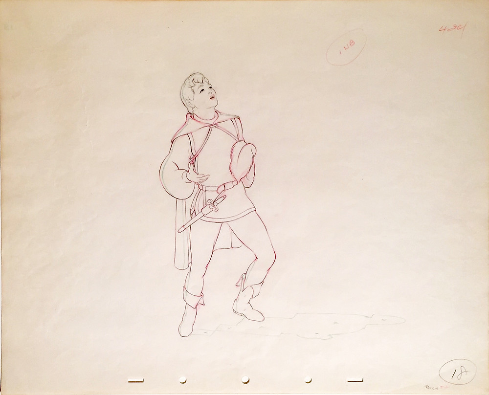 "Original production animation drawing of The Prince from ""Snow White and the Seven Dwarfs,"" 1937, Walt Disney Studios; Red, green, and graphite pencils on peg hole paper; Numbered 18 in pencil lower right; Size - The Prince and Shadow: 8 1/2 x 7 1/2"", Sheet 12 1/2 x 15 1/2""; Unframed."