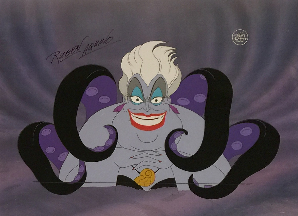 """Original Production Two Cel Setup of Ursula Hand Signed by Rubin Aquino from """"The Little Mermaid,"""" 1989"""