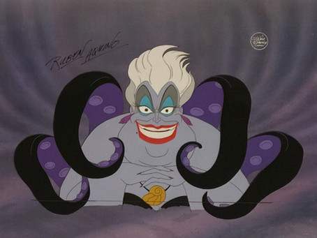 """Original Production Cel Setup of Ursula Hand Signed by Rubin Aquino from """"The Little Mermaid,"""" 1989"""