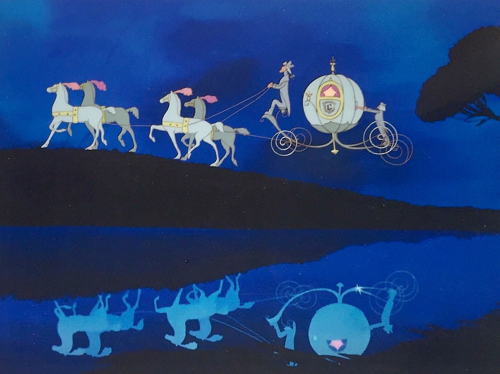 "Original hand inked and hand painted production animation cel of Cinderella's Coach, Gus, Jaq, and two other mice as Horses, Major the Horse as the Coachman, and Bruno the Dog as the Footman set on a lithographic background from ""Cinderella,"" 1950, Walt Disney Studios; Size - Coach & Horses: 5 x 1 1/2"", Image 5 x 6 3/4""; Unframed."