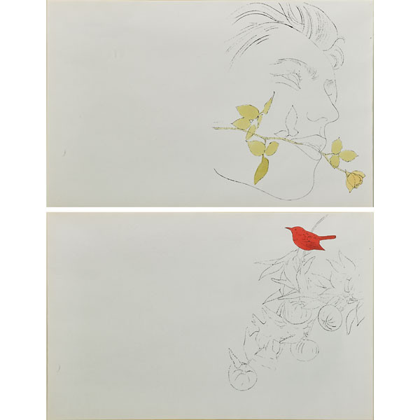 A Gold Book: Double Sided Two Plates; 1957; Offset lithographs with hand-coloring, on wove paper, a trial proof, presumably unique in this composition, the full sheet, printed on both sides of one sheet; Authenticated by the Andy Warhol Art Authentication Board and numbered PM20.0230; Framed with two linen acid free mats, two gold wood fillets, a hand carved and gilded wood frame, and UV conservation clear glass.