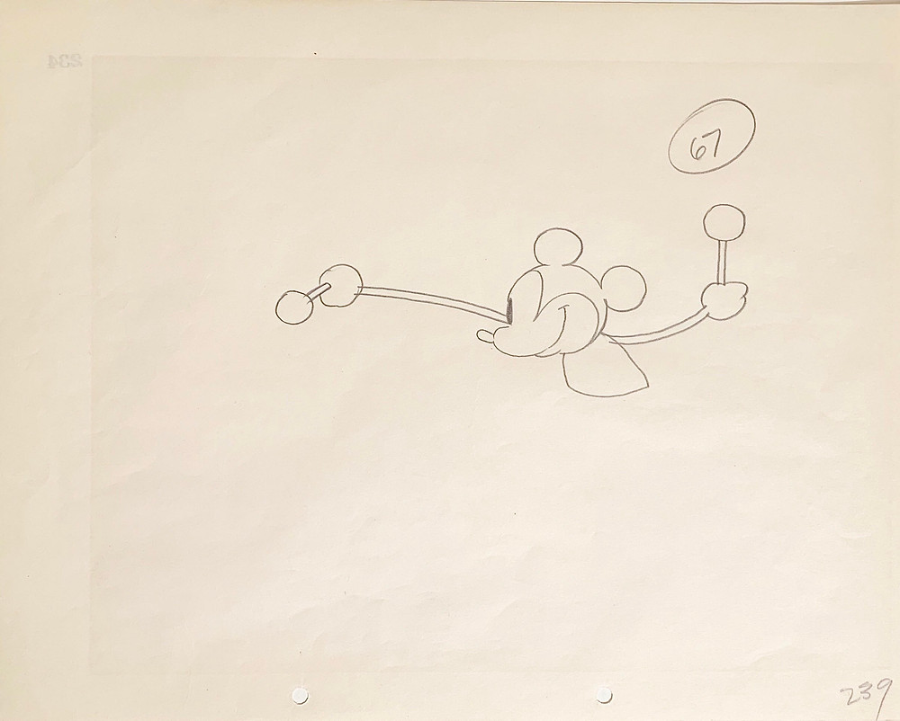 "Original Production Animation Drawing of Mickey Mouse from ""Steamboat Willie,"" 1928"