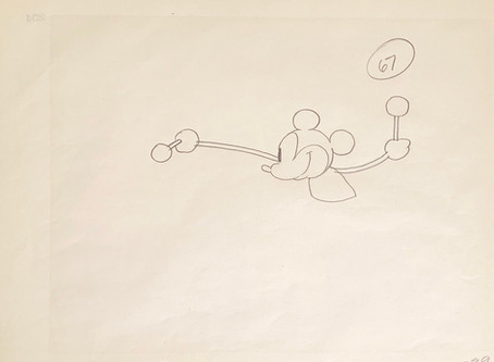 """Original Production Animation Drawing of Mickey Mouse from """"Steamboat Willie,"""" 1928"""