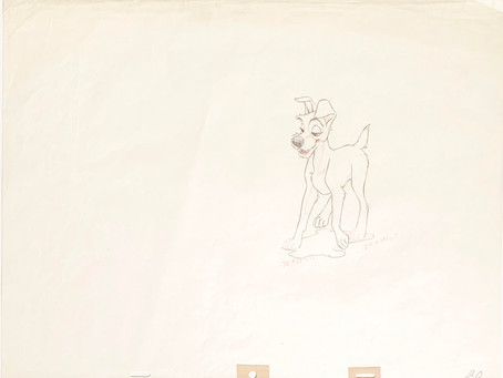"Original Production Animation Drawing of Tramp from ""Lady and the Tramp,"" 1955"