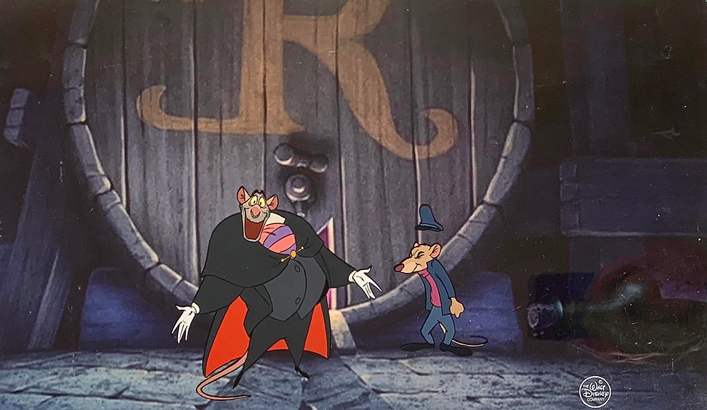 """Original Production Animation Cels of Professor Ratigan and Basil from """"The Great Mouse Detective,"""" 1986"""