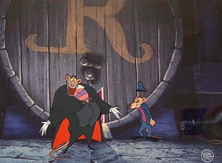 """Original Production Animation Cels of Ratigan and Basil from """"The Great Mouse Detective,"""" 1986"""