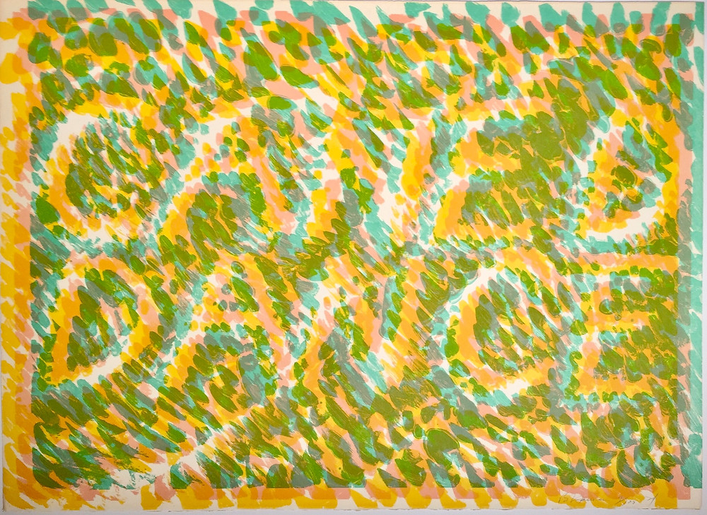 """Caned Dance, 1974; Lithograph on Arches paper; Signed B Nauman, numbered 9/100, and dated 74 lower right; Co-published by Multiples Inc. and Castelli Graphics, New York; Size - Sheet: 22 x 30""""; Unframed."""