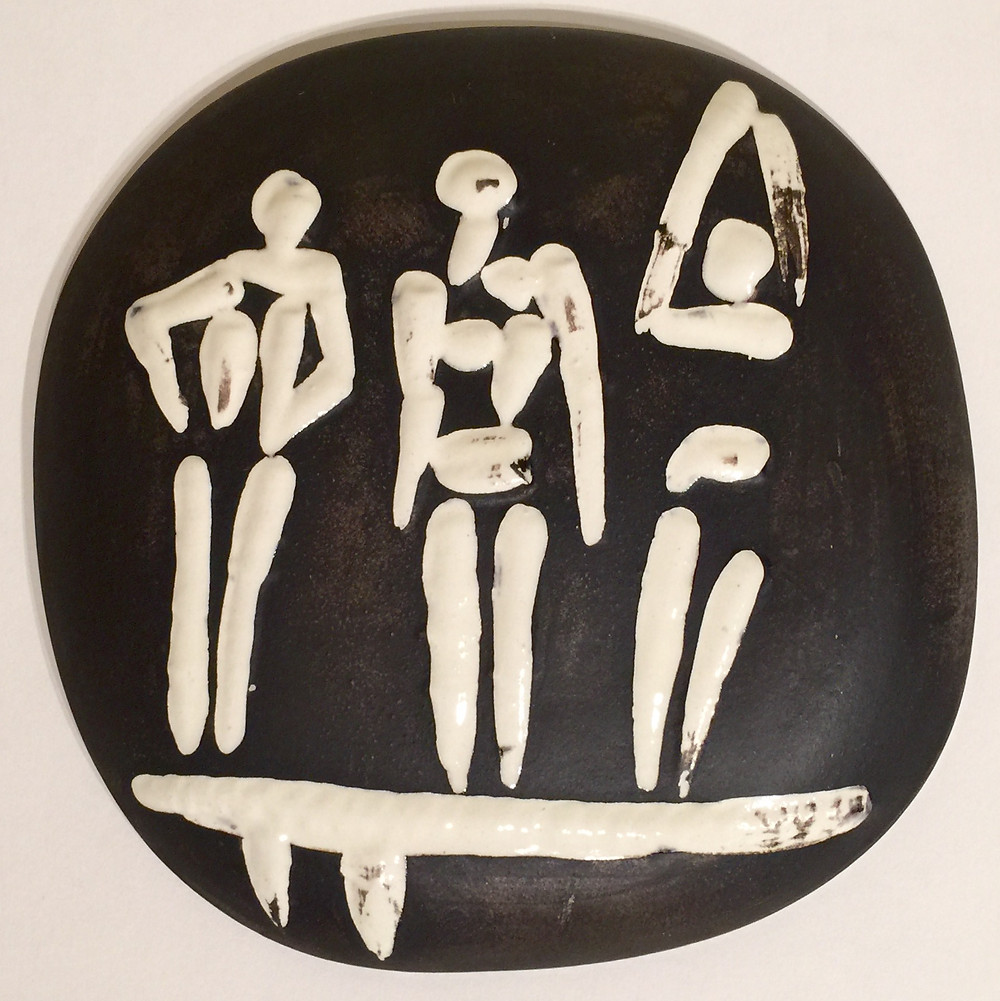 "Three figures on a trampoline, 1956; Partially glazed white earthenware convex wall plaque, painted in ivory and brown, from the edition of 500, with the 'Madoura Plein Feu' and 'Empreinte Originale de Picasso' stamps verso; Size - Plaque 7 1/2 x 7 1/2""; Catalogue Raisonne: A.R. 374; Unframed."
