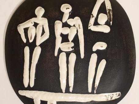 """Three figures on a trampoline,"" 1956 Ceramic Wall Plaque by Pablo Picasso"