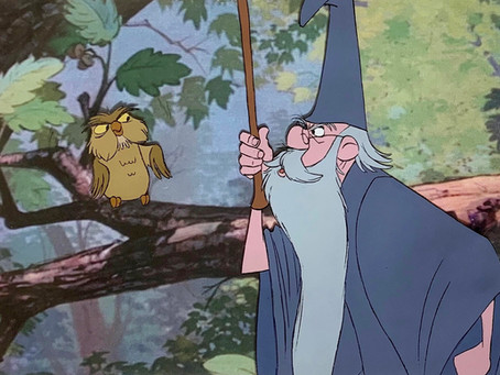 """Original Production Animation Cel of Merlin and Archimedes from """"The Sword In The Stone,"""" 1963"""