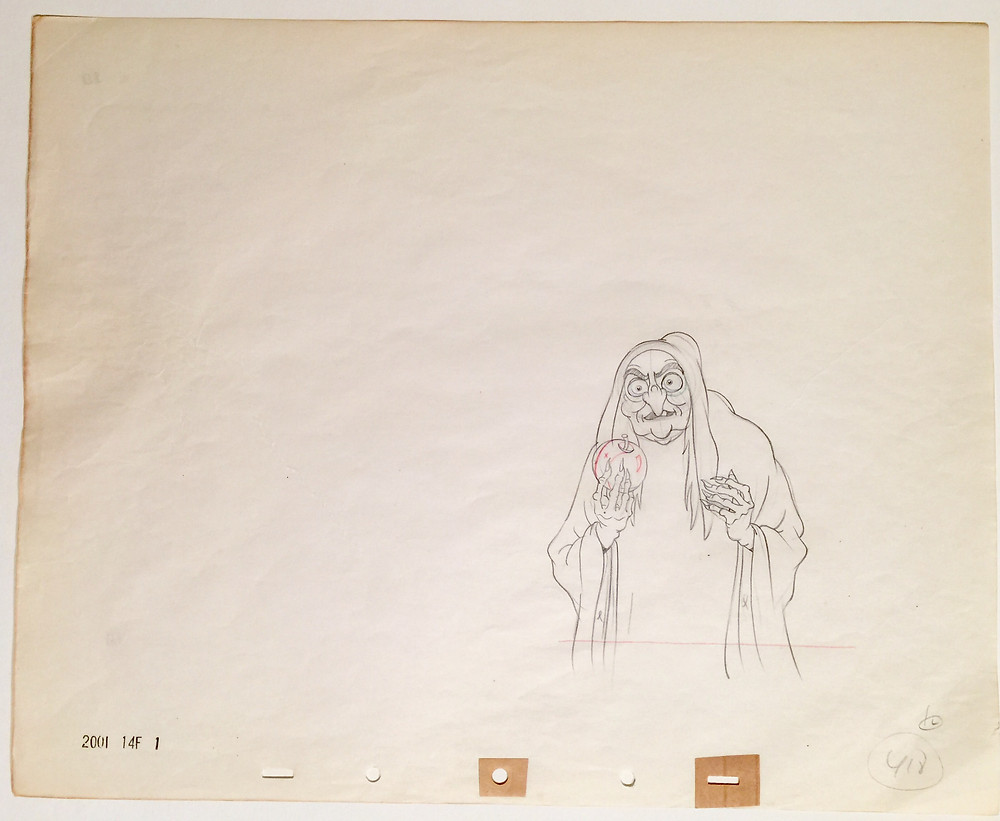 """Original production drawing of the Old Hag (The Witch) holding the poisoned apple from """"Snow White and the Seven Dwarfs,"""" 1937; Red, green, blue and graphite pencils on peg hole paper; Numbered 418 lower right; Stamped production numbers lower left; Size - Old Hag: 5 1/2 x 4"""", Sheet 15 1/2 x 12 1/2""""; Unframed."""