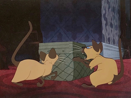"Original Production Animation Cels of Si and Am Siamese Cats from ""Lady and the Tramp,"" 1955"