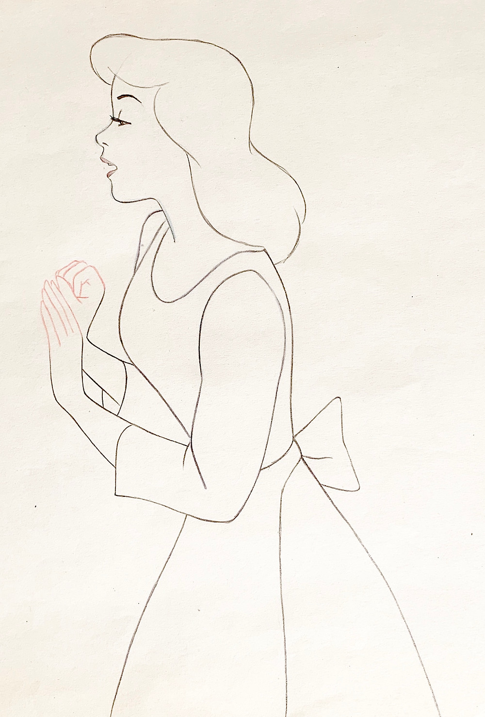 Close up of the Cinderella production drawing.