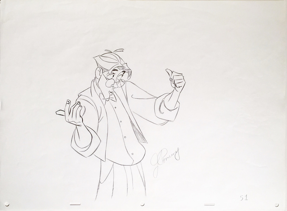 "Original production animation drawing of Milo Thatch in graphite pencil from ""Atlantis: The Lost Empire,"" 2001, Walt Disney Studios; Signed in graphite pencil by John Pomeroy lower center; Numbered 51 lower right; Size - Milo Thatch: 9 x 7 1/2"", Sheet 12 1/2 x 17""; Unframed."