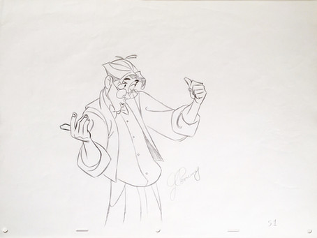 "John Pomeroy Signed Original Production Animation Drawing of Milo Thatch from ""Atlantis"""