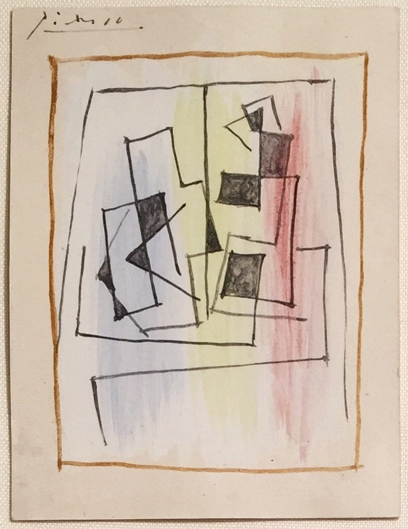 """Nature Morte Sur Une Table Carrée (Still Life On A Square Table), Executed December 1922; Gouache, pen and brush, and black ink on paper; Signed Picasso in ink upper left; Size - Sheet 5 1/2 x 4 1/8"""", Frame 16 3/4 x 16 1/2""""; Framed floated on a custom wrapped linen mat, silver wood frame, and plexiglass; Catalogue Raisonne: C. Zervos, Pablo Picasso, Paris, 1973, vol. 30, no. 411 (illustrated, pl. 132)."""