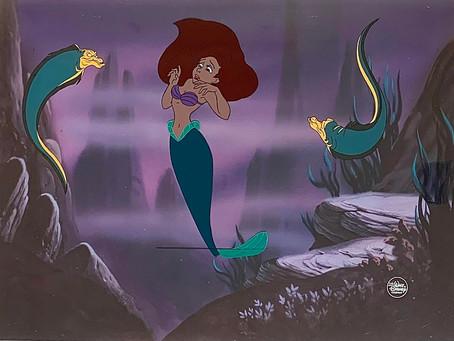 Original Production Animation Cels of Princess Ariel, Flotsam & Jetsam from The Little Mermaid, 1989