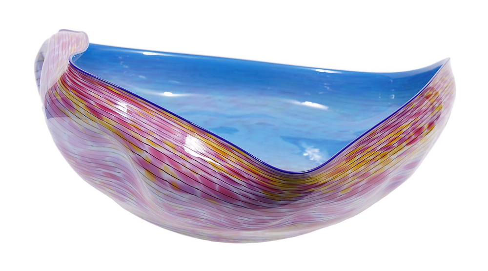Cerulean Blue Macchia with Violet Lip Wrap, 1986 by Dale Chihuly