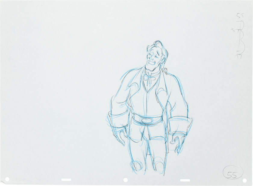 "Original production drawing of Gaston in graphite and blue pencil from ""Beauty and the Beast,"" 1991; Numbered ""55"" lower right and with animation ladder upper right; Size - Gaston 9 x 6"", Sheet 12 1/2 x 17""."