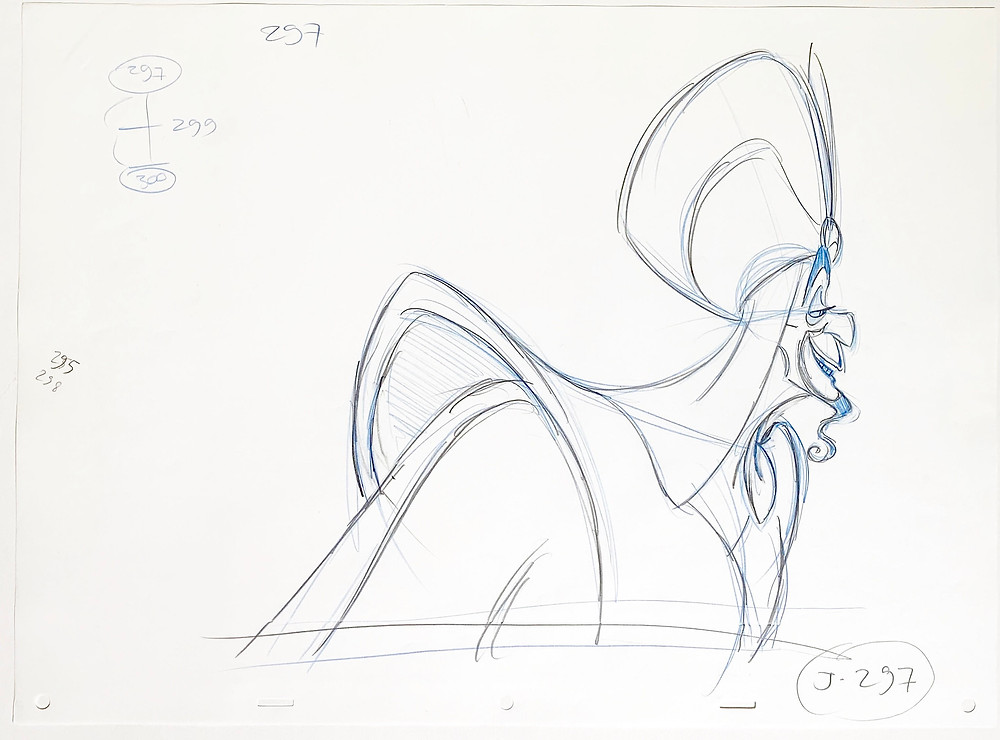 "Original Production Animation Drawing of Jafar from ""Aladdin,"" 1992"