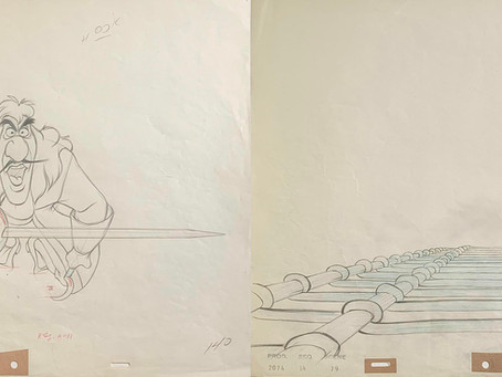 """Original Matching Production Animation Drawings of Captain Hook & Rope Ladder from """"Peter Pan, 1953"""