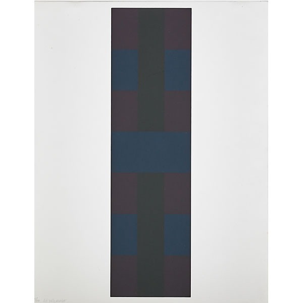 """Untitled, 1966; Serigraph on wove paper, From the edition of 250 (of which only the first 20 were signed), Numbered 15/250 and signed Ad Reinhardt in pencil lower left; Published by Wadsworth Atheneum, Hartford, Connecticut; Framed floated on an acid free mat, black wood frame, and UV Museum Perfect glass; Size - Sheet: 22 x 17"""", Frame: 27 1/4 x 22 1/4""""; *Note: This is a rare print and one of a very few that is numbered & signed by Ad Reinhardt."""