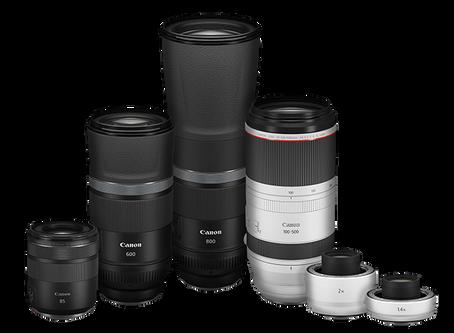Canon RF100-500mm F4.5-7.1 L IS USM, RF600mm and 800mm F11 IS STM, Canon RF85mm F2 MACRO IS STM