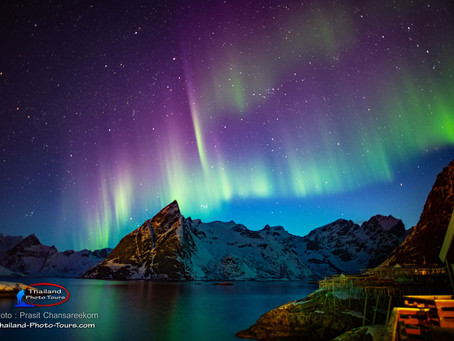 แสงเหนือ ณ เกาะโลโฟเทน ประเทศนอร์เวย์