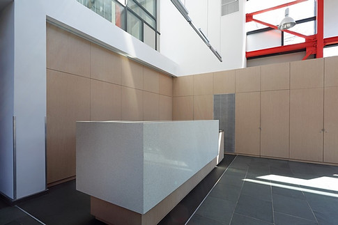 Clean reception desk design.