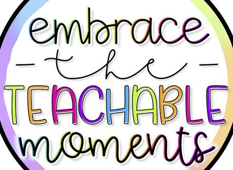 Teachable moments are critical, now more than ever!