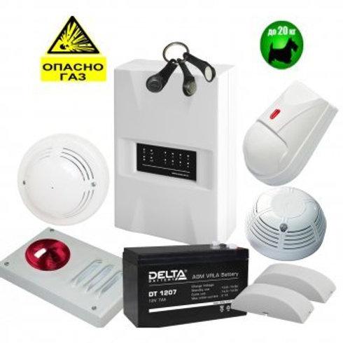 Комплект охранно-пожарной GSM сигнализации для дома и дачи Мираж-GSM-А8-04