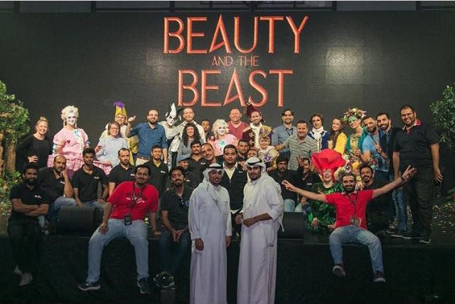 The cast and crew of Beauty and the Beast at Kuwait Ice Skating Rink