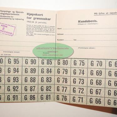 Kjøpekort for grønnsaker 1945/46
