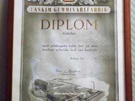 Diplom Askim Gummivarefabrik 25 år