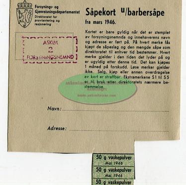 Såpekort u/barbersåpe 1946