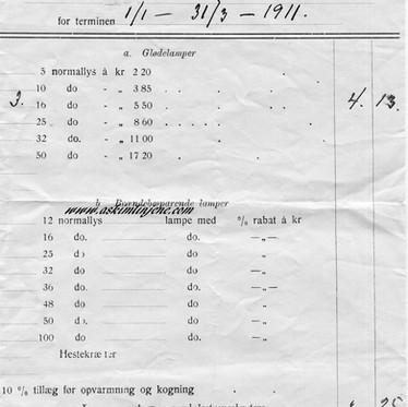 Regning Askim Elektricitetsværk 1911