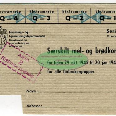 Særskilt mel- og brødkort 1945/46