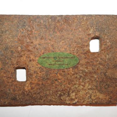 Underlagsplate ved skinneskjøt fra Kykkelsrudbanen