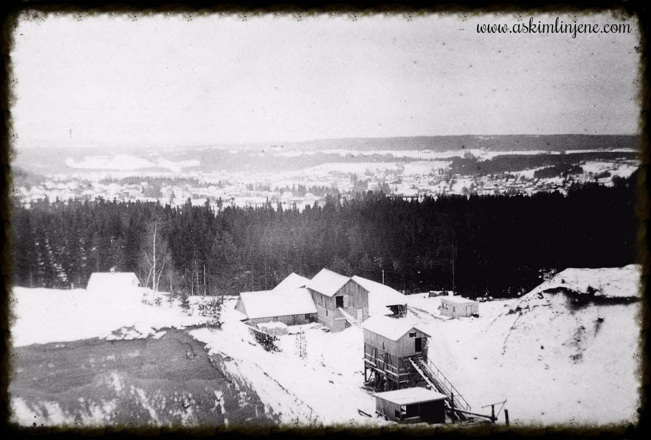 Utsikt fra Myrvang grustak Mona 1952