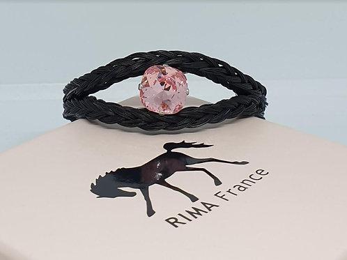 Bracelet en crin tressé OEIL DE NEFERTITI rose