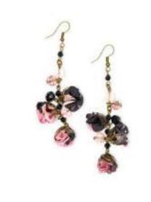 Boucles d'oreille BLACK BLOSSOM boutons de roses