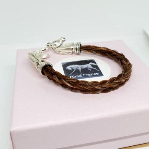 Bracelet en crin alzean AURORE avec têtes de cheval